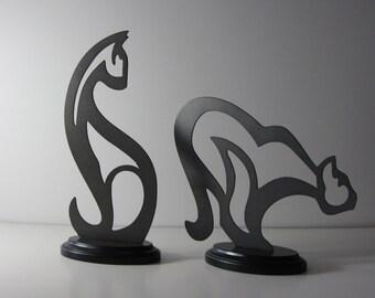 CNC Plasma Modern Abstract Cat Sculpture - Set of 2