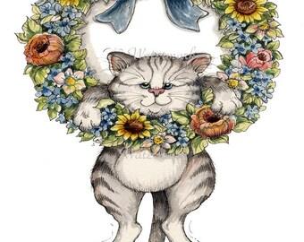 Cat Fabric Panel, Cat Flower Wreath Applique Quilt Block, Crazy Quilting, Art Quilting, Cat Applique Fabric Block, Cat Fabric Art Panel