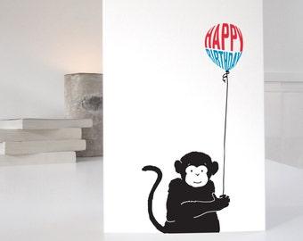 Monkey Birthday Card, cute monkey card for birthdays, happy birthday monkey card, matching gift wrap available