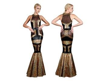 Gold Abendkleid, Abend, Sexy Kleid, Cocktail, langes Kleid, holographische Kleidung, futuristische Kleidung, roten Teppich Kleid von LENA QUIST