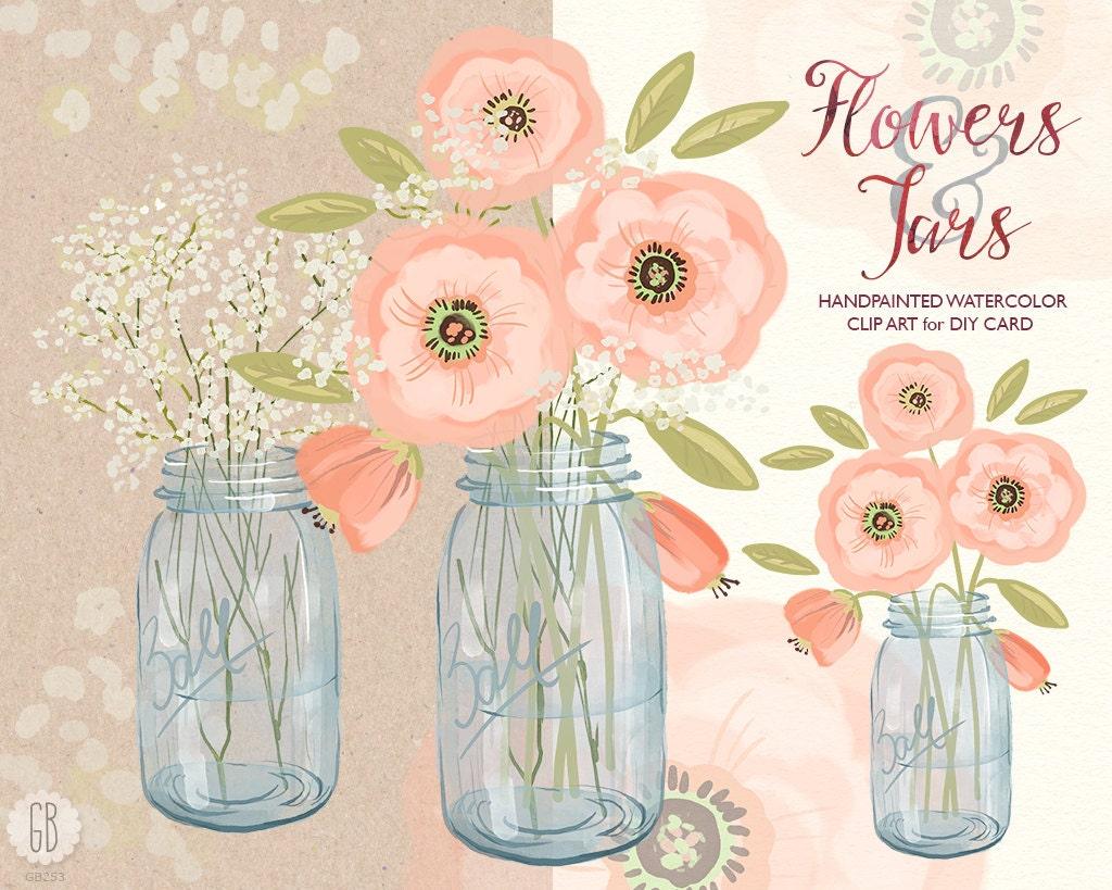 Watercolor mason jar baby breath cream pink flowers hand zoom mightylinksfo