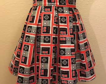 Red and Black Vintage Nintendo Controller Printed Adult Hugh Waisted Skater Skirt