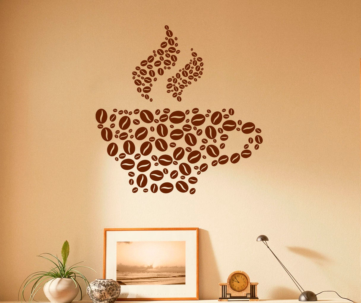 Coffee Cup Wall Decal Coffee Beans Vinyl Stickers Cafe