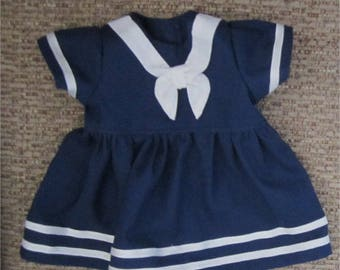"Cute Navy Blue & White Nautical Sailor Dress Fits  Bitty Baby/ Bitty Twin  or Similar 15"" Baby Doll"
