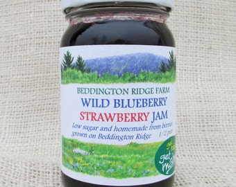 wild blueberry strawberry jam/wild blueberry jam/homemade strawberry jam/ homemade jam/ strawberry jam/low sugar jam/mixed berry jam/jam