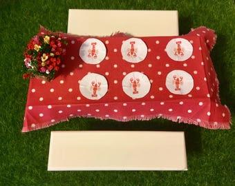 Dollhouse Miniature Red Polka Dot Tablecloth