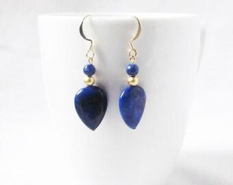 lapis lazuli earrings gold drop lapis earrings cobalt blue and gold earrings  gemstone earrings