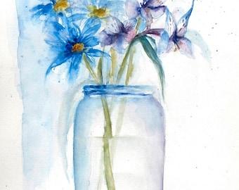 Watercolor Flowers, Original Art, Original Painting, Flower Art, Floral Painting, Blue Daisy Painting, Daisy Painting, Mason Jar Art, Daisy