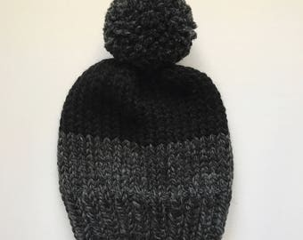 Color Block Knit Hat // Gray and Black