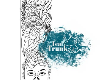 Printable coloring bookmark, zentangle bookmark, coloring pattern, color therapy, instant download