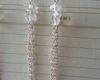 Herkimer diamond chain fringe earrings silver plated