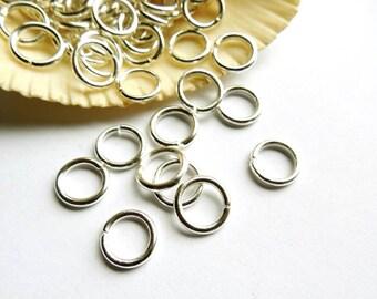 100 Silver Plated Open Loop Jump Rings -10mm - 7-6
