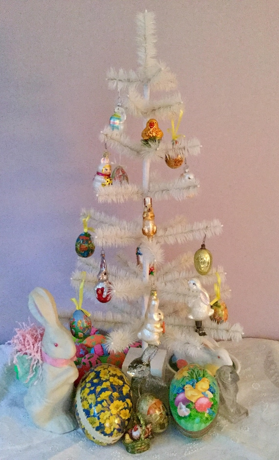 Authentic German Goose White Feather Tree Easter Tree