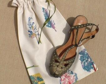 Shoe bag for travel, Trees, Nature, Blue, Sage, Off white, Set of 2, Linen look, Storage bag, Drawstring