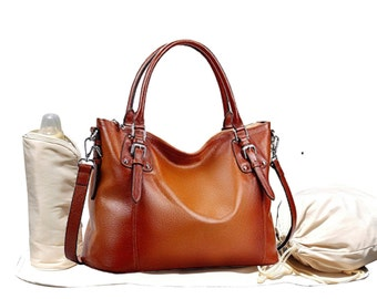 Leather Diaper Bag, Cross Body Tote Diaper Bag, Gifts For New Mom, Changing Mat, Baby Bottle Holder, Drawstring Sac, Stroller Straps