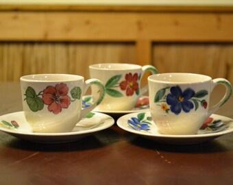 Vintage Teacups and Saucers Set of 3 Shenandoah Ware Paden City Pottery Flower Design PanchosPorch