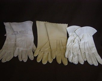 3 pair Vintage Evening and Formal Women's Gloves, Light colors, Leather 1950's- 1960's (02)