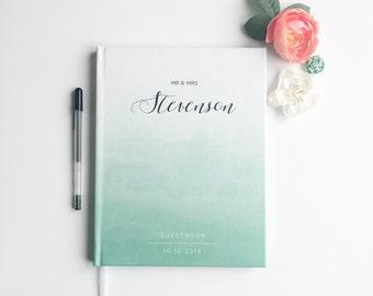 Mint Green Ombre Wedding Guest Book. Wedding Guestbook. Mint Watercolor Wedding Book. Wedding Journal. Wedding Keepsake Book. Wedding Gift