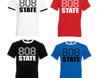808 State Adult Ringer T-Shirt - All Sizes & Colours