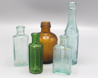 Instant Collection of 5 Vintage Bottles in Green, Brown, Blue Not to be Taken set no.5