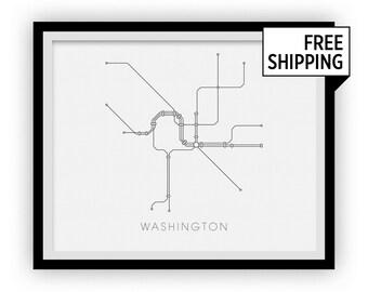 Washington Subway Map Print - Washington Metro Map Poster