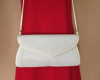 WHITING and DAVIS 12 X 6 X 1.75 Ivory Mesh Shoulder Bag
