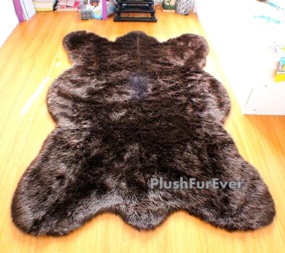 Chocolate Faux Bear Skin Rug by PlushFurever