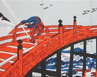 Spider Man on Kyoto's Gojo Bridge Motif Marvel Japanese Cotton Fabric Tenugui Cloth