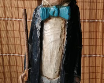 Charlie Chaplin bottle holder wood made in Spain 1980s