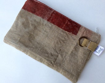 Red - reconstructed vintage 1942 Japanese mail bag small pouch
