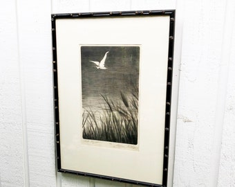 "Alfred Rudolph Water Bird Etching Titled ""Late Flight"" Limited Edition 38/50"