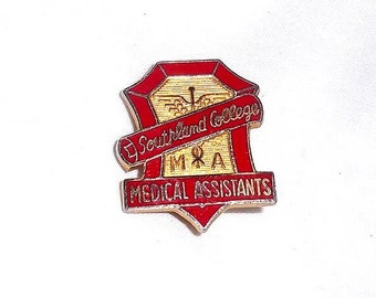 Vintage Southland College Medical Assistants Pin - Red Gold Enamel with Caduceus