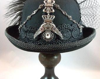 Steampunk Hat, Steampunk, Derby Hat, Bowler Hat, Black Derby Hat, Black Bowler Hat, Burning Man Hat, Cosplay Hat, Steampunk Hat for Woman
