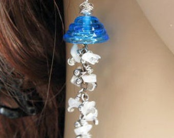 Beautiful blue glass, copper, sterling silver and moonstone dangle jellyfish earrings