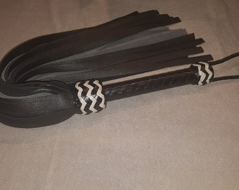 Black and Light Grey Cowhide Leather Flogger