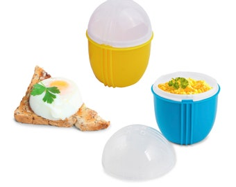 Zap Chef Microwave Egg Cooker Pack of 2, Healthy Scrambled Eggs,1 Minute Egg Poacher, Cool Touch Omlette Maker, Color May Vary