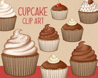 Chocolate cupcake clip art | cupcakes - muffin - baking clip art | Printable Digital Illustration