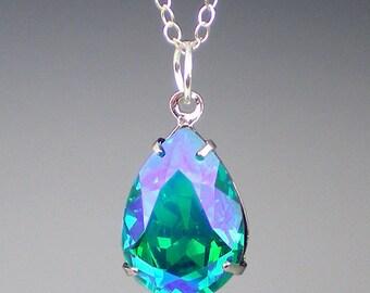 Rhinestone Necklace, Blue Zircon Glacier Blue, , Teal Blue Green Wedding, Bridesmaid Necklace