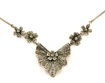 Vintage Flower Shape Marcasite Inlay Necklace 925 Sterling Silver NC 209-E