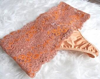 French Lace Thong, see through panty, Tanga, Organic Cotton Lining