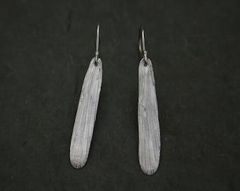 fine silver gingko leaf textured earrings