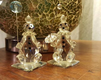 1984 Crystal Clown Figures on Mirrors 2 clown Figurines with Umbrellas