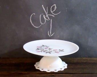 Up-cycled Milk Glass Cake Stand, Cake Plate, Fire King Pink Clover, Hazel Atlas, Farmhouse Decor