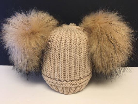 2bdc2823be5 Kids Biege Double Fur Pom Ribbed Knit Hat Knit Hat with