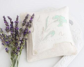 Ivory & White Lavender Drawer Sachet, Vintage Textiles