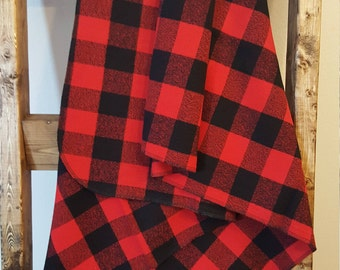 Red and black buffalo plaid flannel baby blanket, extra large swaddle blanket, extra large receiving blanket, baby boy nursery