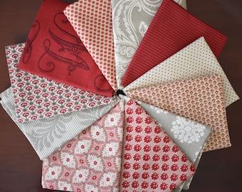 Madam Rouge, Josephine, Rue Indienne Rouge & Petite Fat Quarter Bundle of 11 by French General for Moda
