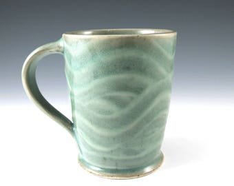 Pottery Coffee Mug, Ceramic Mug, Light Green Cup, Pottery Mug, Tea Cup, Stoneware Mug, Handmade Mug, Ceramics and Pottery, Coffee Craver