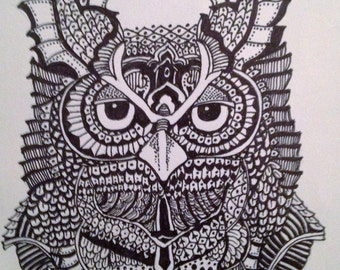 Owl Zen tangle on mixed media paper