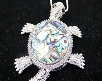 Turtle pendant, silver necklace, abalone,  movable legs and tail, ready to ship choice of chain, free gift box